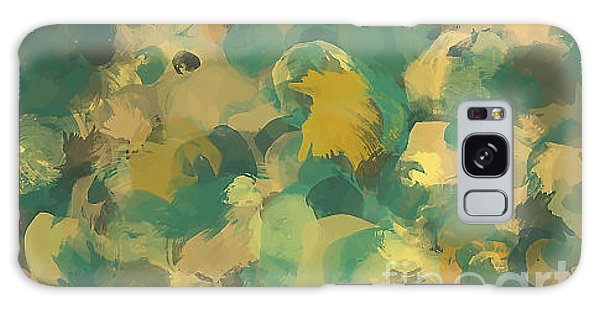 Drop Galaxy Case - Green And Yellow Round Brush Strokes by Shekaka