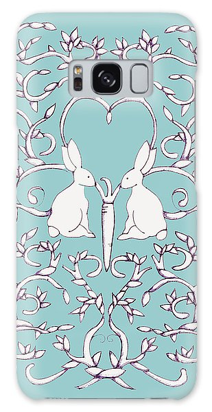 Green Blue Rabbits Leaves Galaxy Case by Donna Huntriss