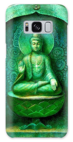 Green Buddha Galaxy Case by Sue Halstenberg