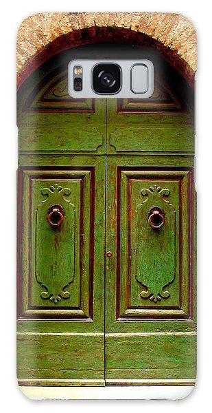 Green Door Galaxy Case by Ramona Johnston