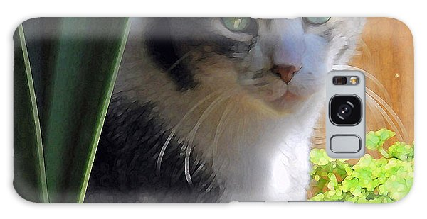 Green Eyed Cat Galaxy Case