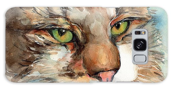 Watercolor Pet Portraits Galaxy Case - Green Eyes by Maria's Watercolor