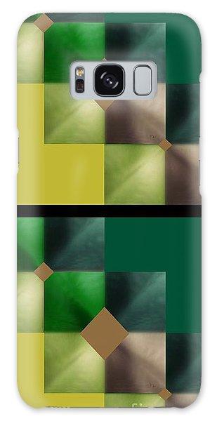 Green Glow Check Galaxy Case by Ann Calvo