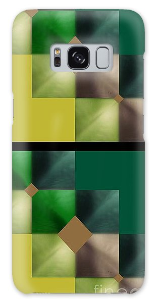 Green Glow Check Galaxy Case by Ann Calvo