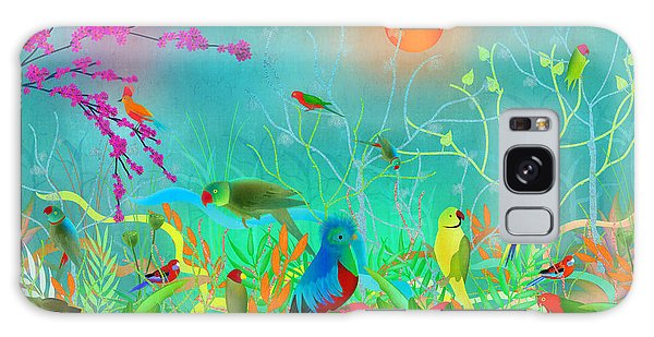 Green Landscape With Parrots - Limited Edition Of 15 Galaxy Case by Gabriela Delgado