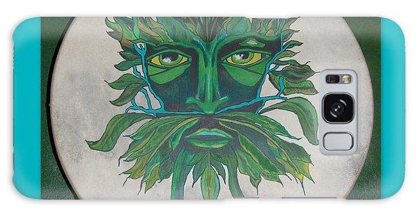 Green Man On Bodhran Galaxy Case by Linda Prewer
