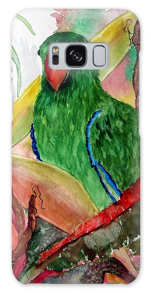 Green Parrot Galaxy Case by Lil Taylor