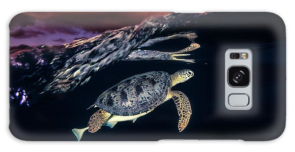 Travel Galaxy Case - Green Turtle And Sunset - Sea Turtle by Barathieu Gabriel