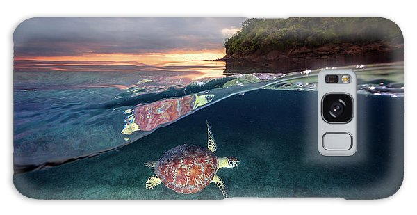 Turtle Galaxy Case - Green Turtle With Sunset by Barathieu Gabriel