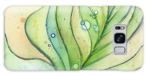 Feathers Galaxy Case - Green Watercolor Bubbles by Olga Shvartsur