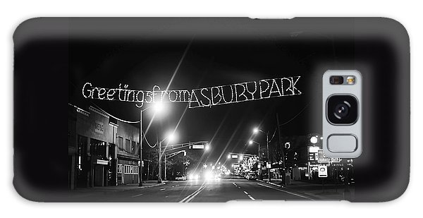 Greetings From Asbury Park New Jersey Black And White Galaxy Case