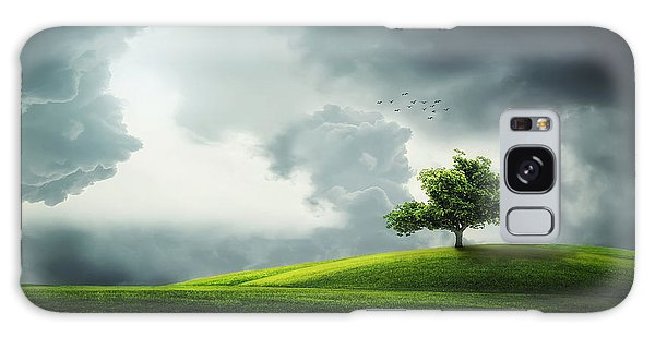 Grey Clouds Over Field With Tree Galaxy Case