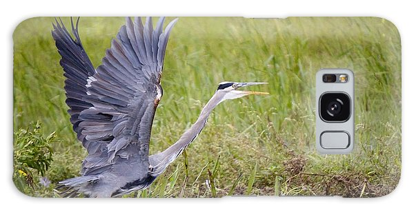 Grey Heron Galaxy Case by David Grant