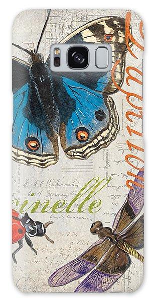 Grey Postcard Butterflies 4 Galaxy Case