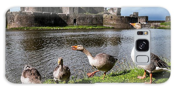 Gosling Galaxy Case - Greylag Geese And Caerphilly Castle by Paul Williams