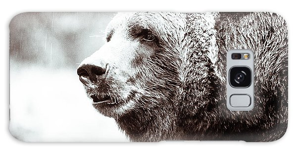Grizzly In Black And White Galaxy Case by Wade Brooks