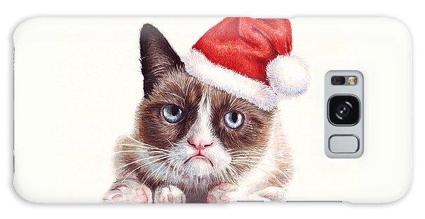 Funny Galaxy Case - Grumpy Cat As Santa by Olga Shvartsur