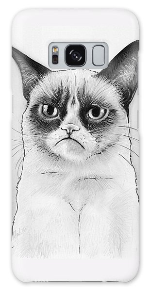Cat Galaxy Case - Grumpy Cat Portrait by Olga Shvartsur