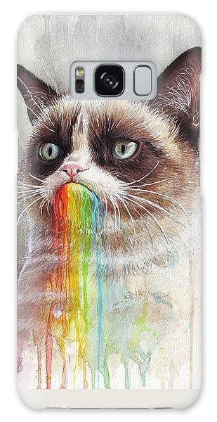 Grumpy Cat Tastes The Rainbow Galaxy Case by Olga Shvartsur