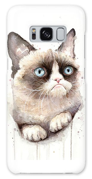 Watercolor Pet Portraits Galaxy Case - Grumpy Cat Watercolor by Olga Shvartsur