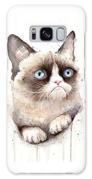 Galaxy Case - Grumpy Cat Watercolor by Olga Shvartsur