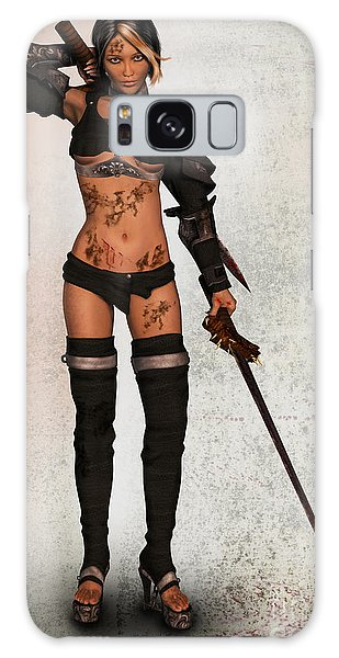 Grungy Female Warrior Galaxy Case