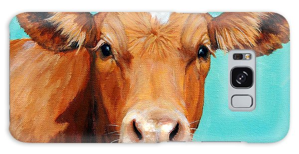 Cow Galaxy Case - Guernsey Cow On Light Teal No Horns by Dottie Dracos