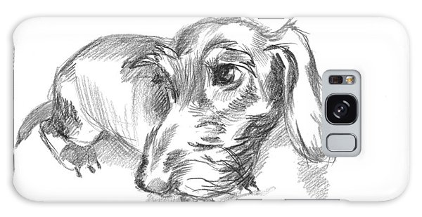 Guilty-looking Young Wire-haired Dachshund Galaxy Case