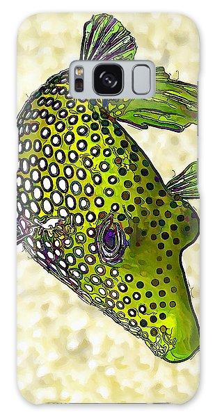 Guinea Fowl Puffer Fish In Green Galaxy Case
