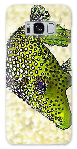 Guinea Fowl Puffer Fish In Green Galaxy Case