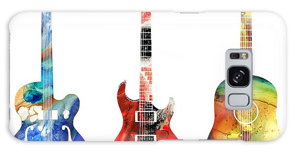 Antique Galaxy Case - Guitar Threesome - Colorful Guitars By Sharon Cummings by Sharon Cummings