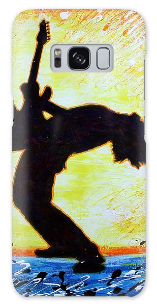 Guitarist Rockin' Out Silhouette Galaxy Case