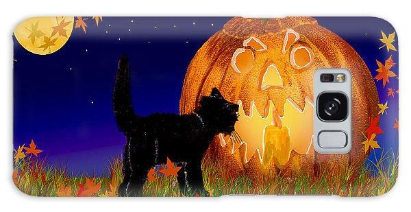 Halloween Black Cat Meets The Giant Pumpkin Galaxy Case