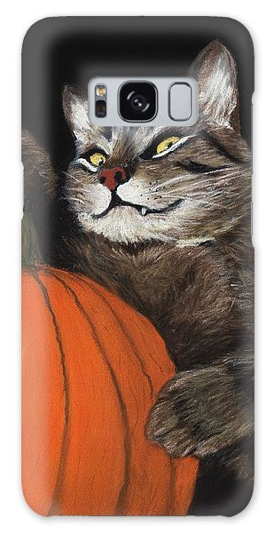 Pumpkin Galaxy S8 Case - Halloween Cat by Anastasiya Malakhova