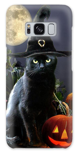 Witchy Black Halloween Cat Galaxy Case