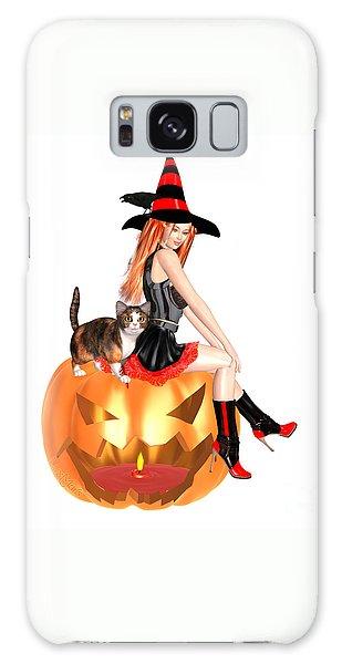 Halloween Witch Nicki With Kitten Galaxy Case by Renate Janssen