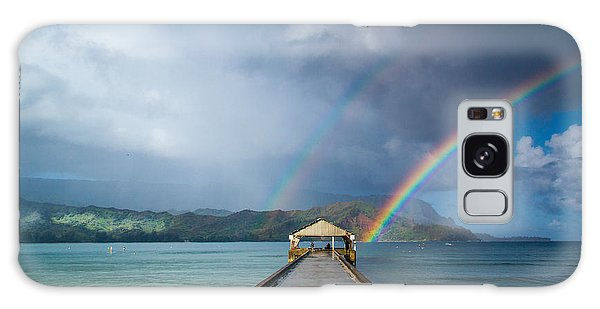 Hanalei Bay Pier And Double Rainbow Galaxy Case