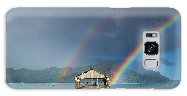 Hanalei Pier And Double Rainbow Galaxy Case