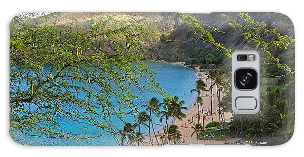 Hanauma Bay Nature Preserve Beach Through Monkeypod Tree Galaxy Case