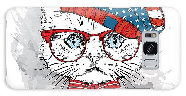 T-shirts Galaxy Case - Hand Draw Cat In A Usa Hat. Vector by Sunny Whale