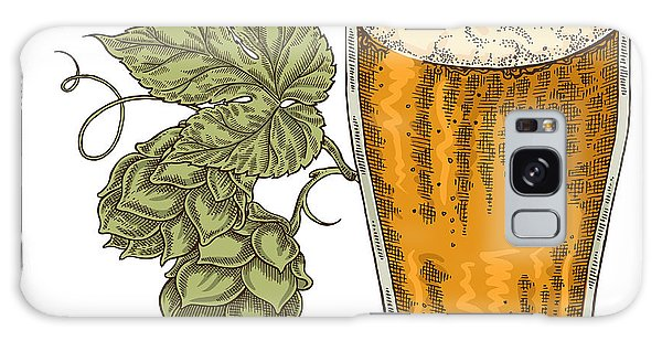 Bar Galaxy Case - Hand Drawn Beer Glass With Hops Plant by Jka