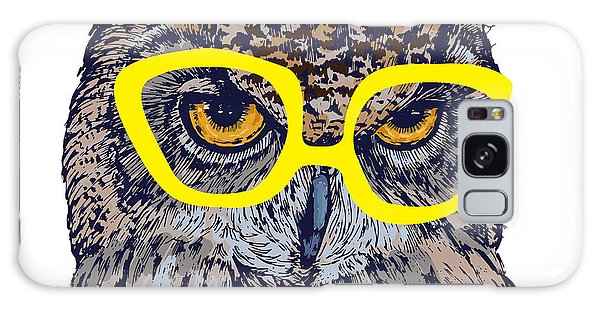 Smart Galaxy Case - Hand Drawn Owl Face With Yellow by Melek8