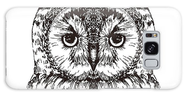 Feathers Galaxy Case - Hand Drawn Owl Portrait, Vector by Melek8