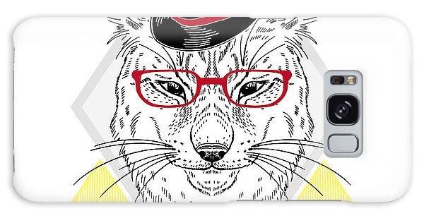 Dress Galaxy Case - Hand Drawn Portrait Of Hipster Lynx In by Olga angelloz