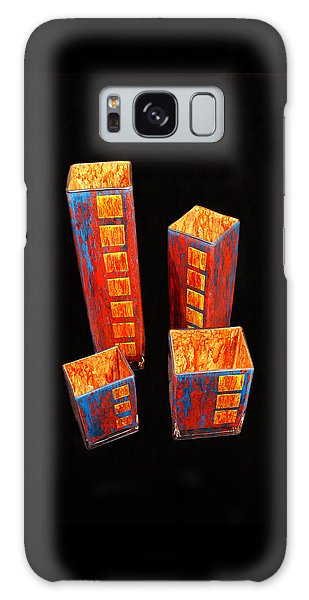 Hand Painted Glass Set Of Four Reds Galaxy Case