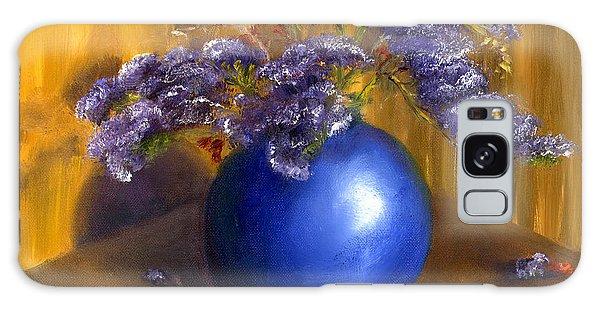Hand Painted Still Life Blue Vase Purple Flowers Galaxy Case