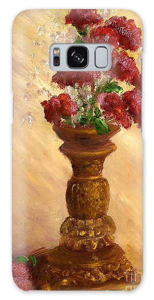 Hand Painted Still Life Red Flowers Gold Vase Galaxy Case
