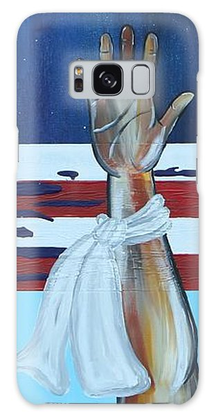 Galaxy Case featuring the painting Hands Up Dont Shoot by Aliya Michelle
