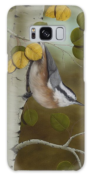 Hanging Around-red Breasted Nuthatch Galaxy Case