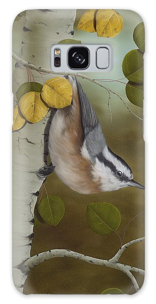 Card Galaxy S8 Case - Hanging Around-red Breasted Nuthatch by Rick Bainbridge